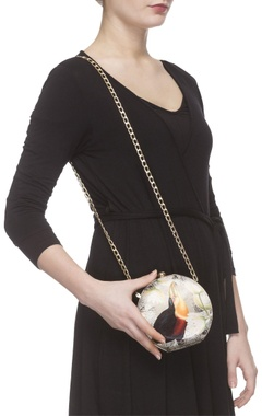 Ivory digital printed clutch with sling chain