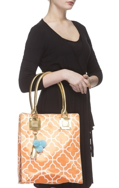 Orange digital printed tote bag