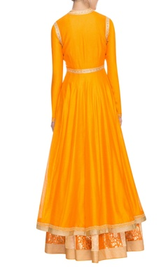 Yellow sequin and thread embellished anarkali set
