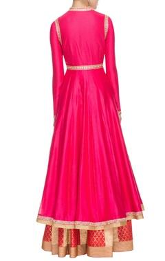 Fuchsia pink sequin and thread embellished anarkali set