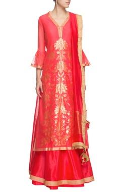 Red & gold floral motif kurta set