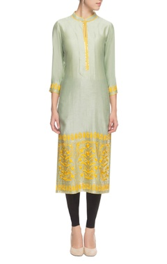 Green and yellow thread embroidered kurta