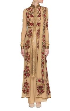 Camel floral embroidered kurta set
