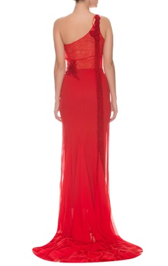 Red one shoulder bead embellished gown