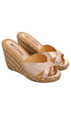Gold strap wedges with sequin & thread work