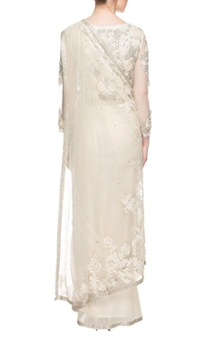 Ivory sequin embellished sari gown