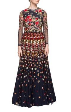 Varun Bahl Navy blue floor length floral embroidered dress