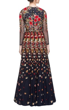 navy blue floor length floral embroidered dress
