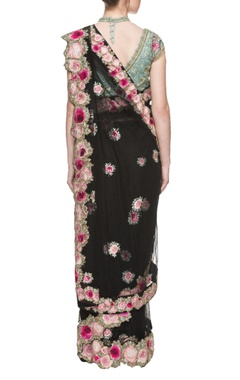 black floral motif net sari with an embroidered blouse