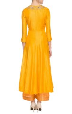 Fire yellow embellished kurta with palazzos