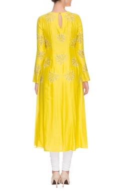 Yellow and white maple motif kurta set
