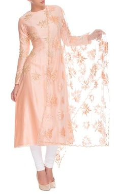 Peach and white maple motif kurta set