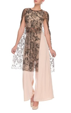 Peach and black embellished crop top and palazzo set with a cape