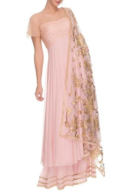 Baby pink embroidered palazzo set