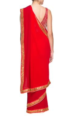 Red & orange shaded sari with sequin border