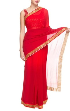 red & orange shaded sari with sequin border