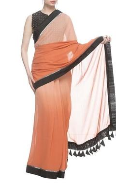 Nachiket Barve Orange & peach shaded sari with black studded blouse