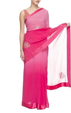 shaded pink sari with sequined motif and net blouse