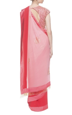 Watermelon red and pink sari with embroidered blouse