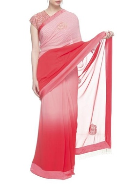 Nachiket Barve Watermelon red and pink sari with embroidered blouse