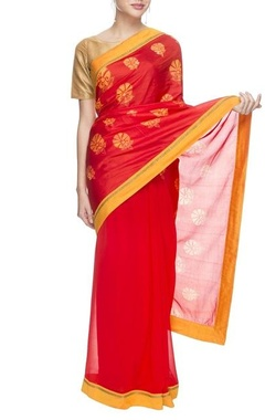 orange silk sari with floral prints