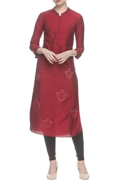 cherry red long kurta with silver embroidery