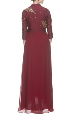 Maroon tulip gold embroidered gown