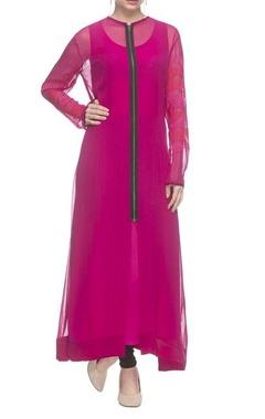 Nachiket Barve Hot pink threadwork embroidered long kurta