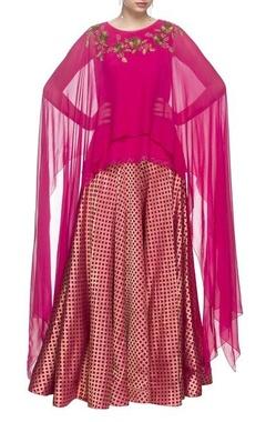 hot pink layered asymmetric kurti