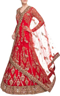 Cherry red embroidered anarkali gown