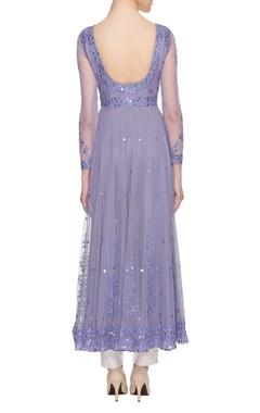 purple mirror work anarkali