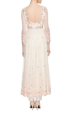 off-white mirror work anarkali