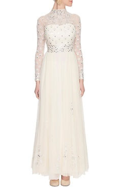 off-white mirror embellished anarkali