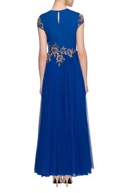 blue floral zardosi work dress