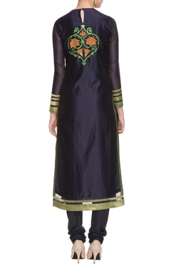 navy blue applique work kurta set