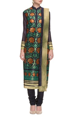 navy blue gold foil applique embroidered kurta set