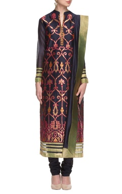 navy blue threadwork embroidered kurta set