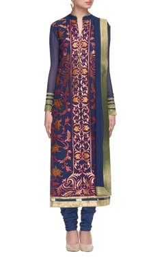 midnight blue embroidered kurta set