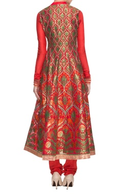 tangerine peacock embroidered anarkali set