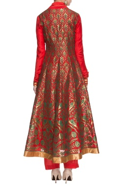 tangerine kurta with anarkali jacket & trousers