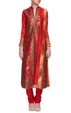 tangerine & turquoise embroidered kurta set