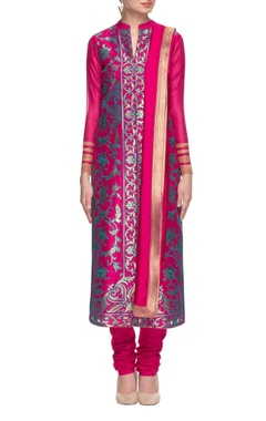 hot pink & turquoise embroidered kurta set