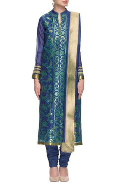 royal blue & turquoise embroidered kurta set