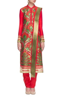 tangerine & green peacock embroidered kurta set