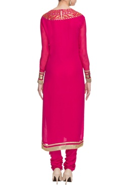 hot pink & orange embroidered kurta set