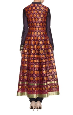 navy blue embroidered anarkali set