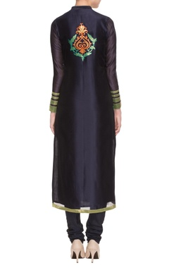 Midnight blue applique embroidered kurta set