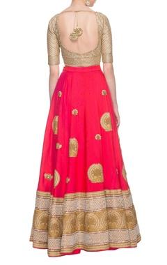 Coral pink & gold embellished lehenga set