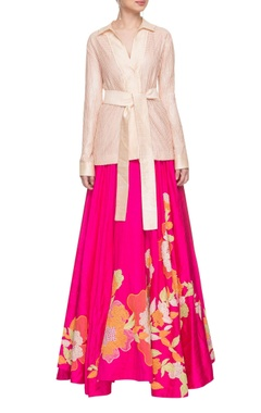 Peachy pink robe top with an  embroidered skirt