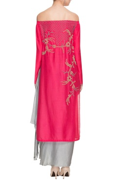 Hot pink off shoulder kurta with silver grey skirt